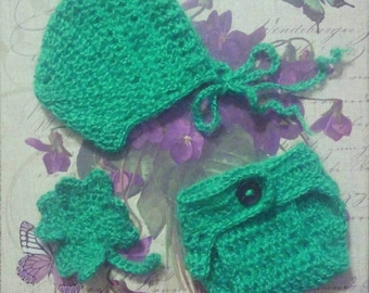 Newborn Crocheted Baby Boy Take Home Outfit! Sizing for 0-3 months! FREE SHIPPING too!
