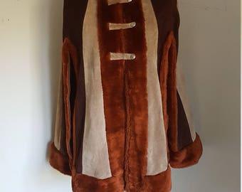 Vintage Cape Coat Suede Boho 1970s Cape Coat
