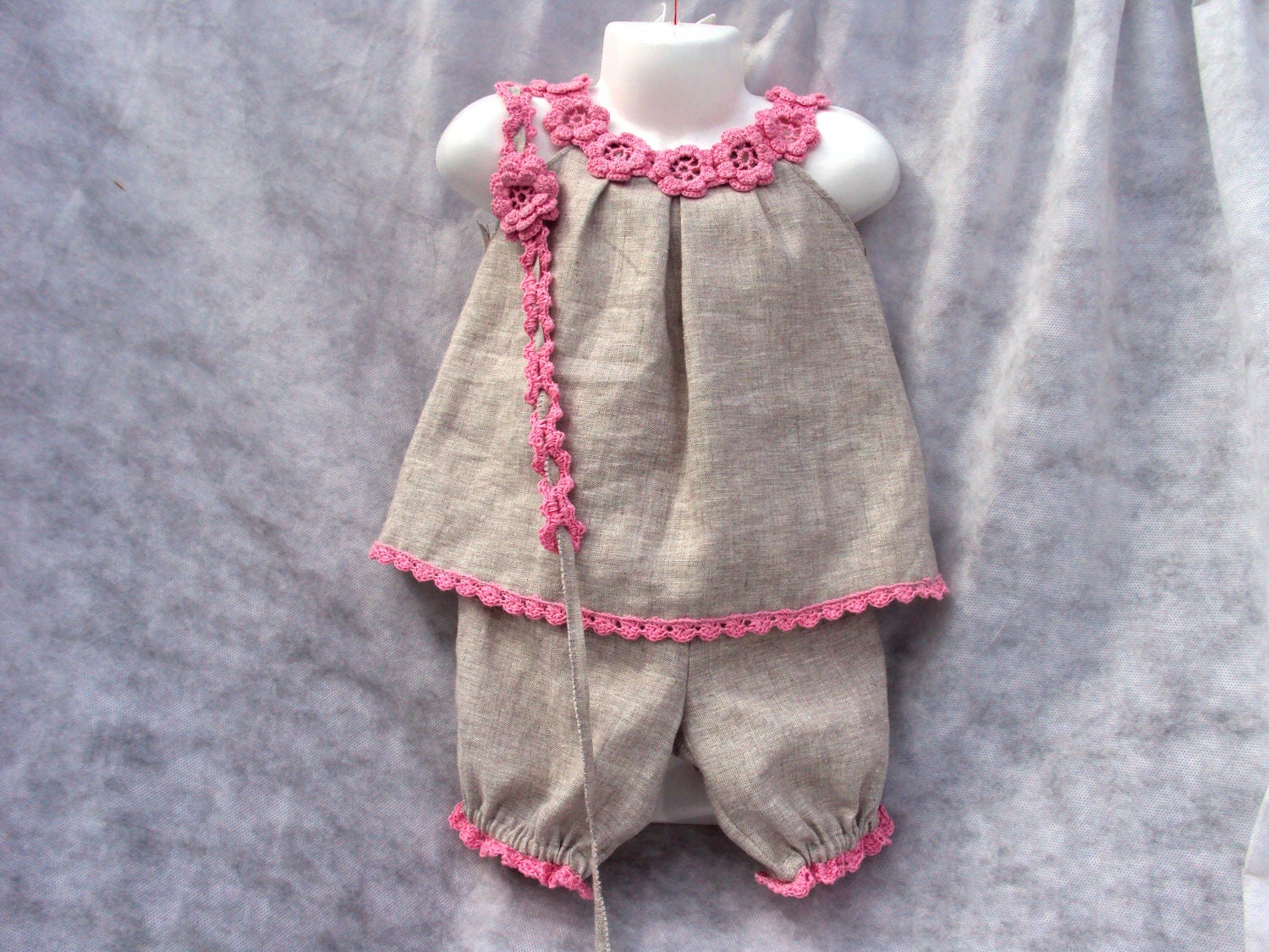 Linen/ flax Organic Babies\' Tops Shorts/flowers/and