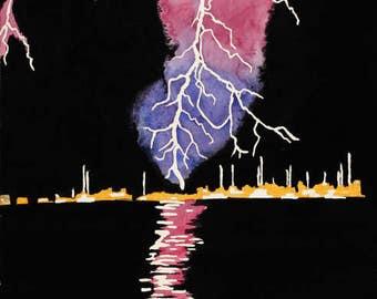 Lightning on the Shorline, lightning watercolor painting