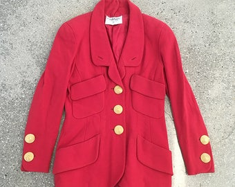 80s Vintage Chanel Red jacket : gold coco