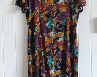 90's arty patterned maxi dress with short sleeve