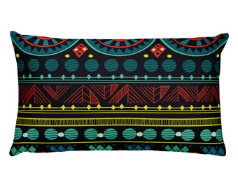 Chic Bohemian Rectangular Pillow Colorful Geometric Tribal Pattern Pillow Funky Abstract Decor