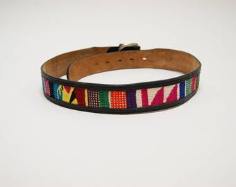 Vintage Guatemalan Textile Belt ⎮ 80s 90s Woven Leather Belt ⎮ Vintage Boho Hippie Gypsy Belt