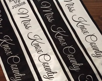 Pageant Sash Custom Embroidered with Cursive font