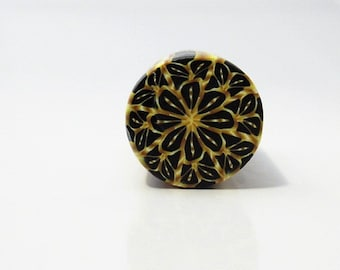 Polymer Clay Kaleidoscope Round Unbaked Cane in Black and Gold