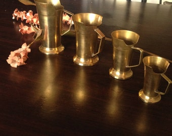 Four antique copper cups are a beautiful Indian style for decoration and use