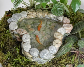 Fairy Garden Koi Pond miniature with artificial water - terrarium accessories - fairy garden accessory - miniature frog - miniature koi fish