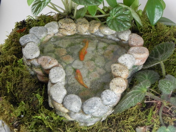 Fairy garden koi pond miniature with artificial water for Artificial plants for outdoor ponds