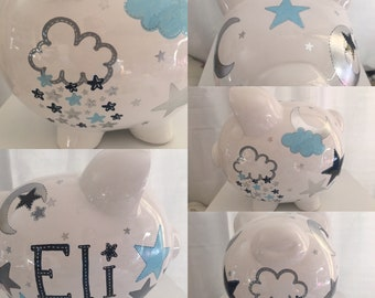 Personalized Large Piggy Bank Moon Stars Love you to the Moon and Back- ring Bearer birthday, christenings, communions, Baby Shower Gift