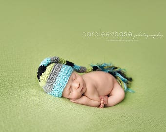 Elf Hat in Aqua, Lime, Black, and Grey Fringe Tail