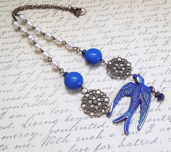 handmade blue sparrow and pearl necklace