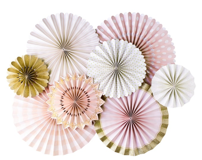Pink and Gold Party Fans,Pink and Rose gold Party Fans, Pom Wheel, Rosettes, Paper Medallions, Light Pink and Gold Fans, Paper Pinwheel