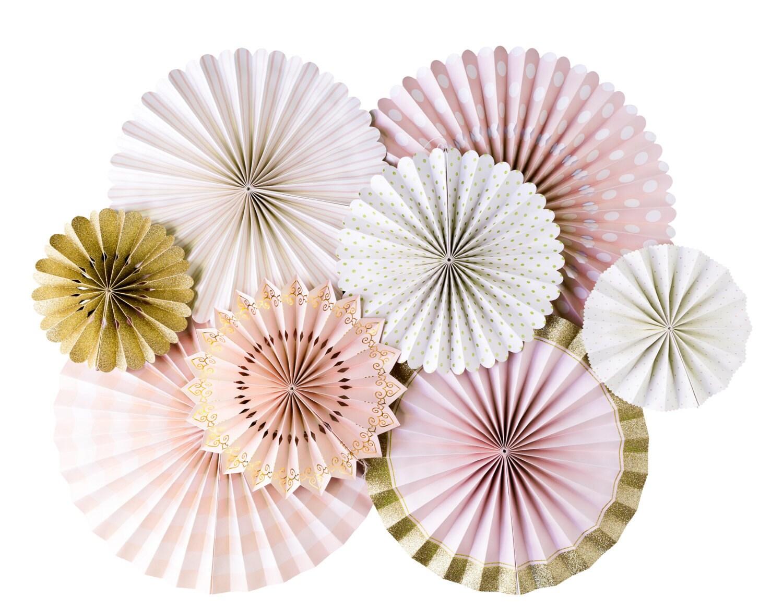 pink and gold party fanspink and gold party fans pom
