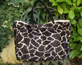 fabric tote bag faux fur print giraffe