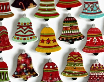 10 Wooden Bell Shaped Buttons - Christmas Buttons - Printed Xmas Button - 25mm x 20mm - Church Bell Button - Festive Wood Button - PW204