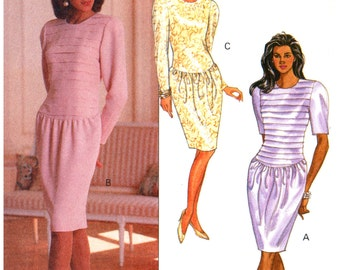 90s Butterick 4988 Kathryn Conover Formal Dress with Drop Waist Bodice and Tapered Skirt, Uncut, Factory Folded Sewing Pattern Size 6-10