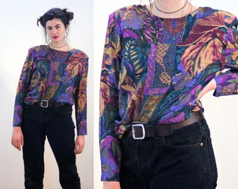 80s Purple Leaf Print Top L, Teal Violet Bohemian Tropical Rayon Vintage Pullover Shoulder Pads Boxy Retro Keyhole Back Blouse, Large