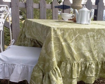 Double Ruffled Sage Tablecloth