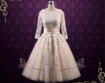 SALE Retro Modest Tea Length Lace Wedding Dress with Sleeves | Marlene