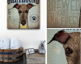 Greyhound dog coffee company advertising style artwork on gallery wrapped canvas by stephen fowler