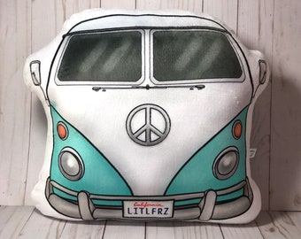 VW Camper Pillow, Volkswagen Bus Shaped Pillow, Car Lover, VW Baby Gift, Nursery Decor, Classic Car, Stuffed Car Pillow, Retro Camper Gifts