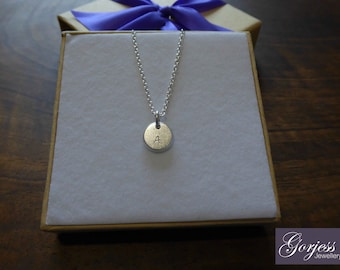Silver Initial Pendant - Chunky Disc Charm - Handmade Letter Pendant - Initial A Necklace