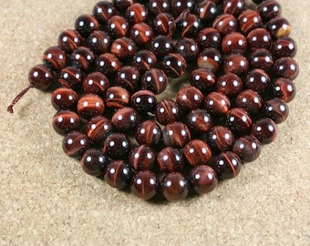 Tigereye Round Beads - Red Smooth Shiny Beads, 15.5 inch strand