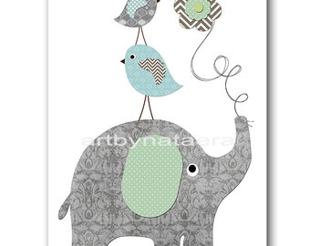 Elephant Nursery Baby Boy Nursery Art Nursery wall art baby nursery kids room decor Kids Art Boy Print elephant birds nursery blue gray