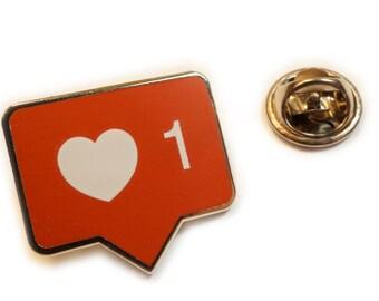 INSTALIKE Instagram Like Heart Button Icon Symbol Suit Work Hat Jacket Tie Tack Lapel Pin