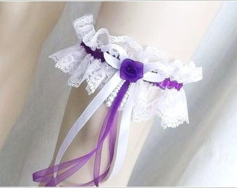 Garter lace blanche(ou ivoire) and purple