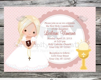 First Communion Invite, Baptism Invitation, Mi Primera Communion, Religious Invitation, Cross, Printed Invitation