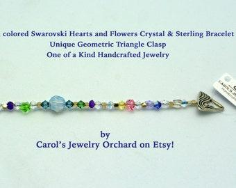 SALE on Swarovski Handmade Bracelet. One of a kind. Classically Beautiful Bracelet w/ Swarovski Flowers and unique Sterling geometric clasp