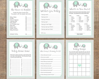 Mint Baby Shower Games Package, 6 Baby Shower Games Bundle, Mint Elephant Grey Chevron, Neutral, DIY Printable, INSTANT DOWNLOAD