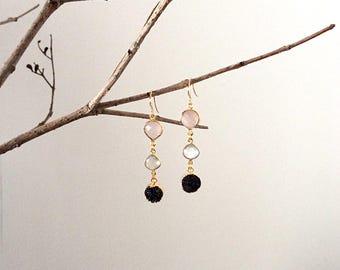 Pink quartz earrings/ Long drop earrings/ Druzy earrings/ Combination earrings/ Statement earrings/ Semiprecious stone earrings/ Gift idea