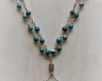 Sterling Silver Necklace with Turquoise Beads, Silver Necklace