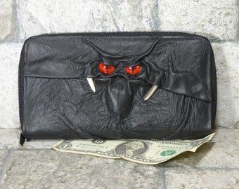Wallet Zippered Slim Woman Black Leather Clutch Credit Card Holder Monster 228