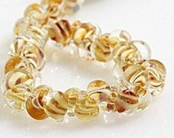 10 Caramel Popcorn Teardrop Handmade Lampwork Beads - 10mm (21115)