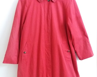"""Burberry Red Loang Coat 2 Layers Made In Japan Armpit 22""""x 39"""""""