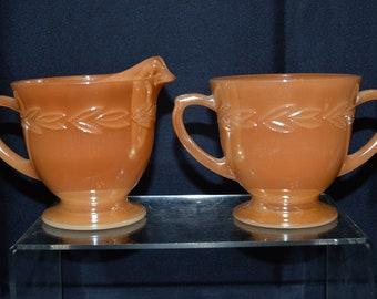 Fire King Peach Luster Sugar and Creamer Set Laurel Design - Vintage #4207