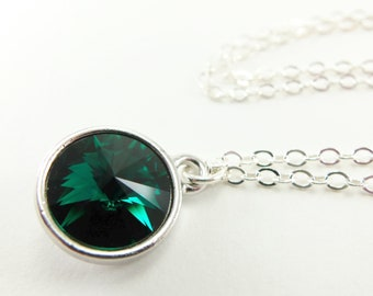 Green Emerald Birthstone Necklace May Birthstone Sterling Silver Crystal Necklace Rivoli