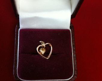 14 K Yellow & Rose Gold Beautiful Heart in Heart Charm. 0.5 gm.