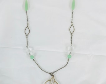 Lavender and mint long necklace