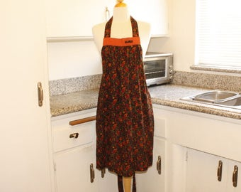 Multi Rust Daisy Cotton Linen Full Apron