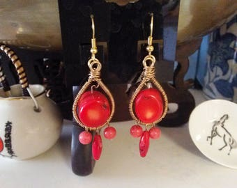 Gold Wire Wrapped Earrings With Coral