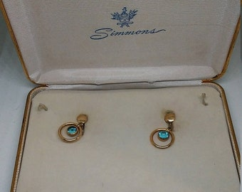 Spring Sale Vintage Gold Filled Boxed Simmons Earrings