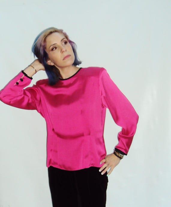 FUSCHIA pink satin Blouse / button back / m / l