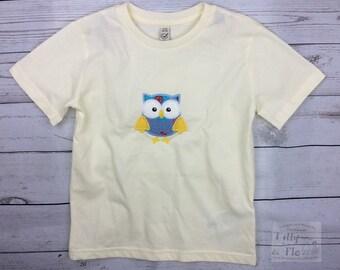 Owl T Shirt - Owl Motif - Age 5-6 - Organic Cotton - Owl Top - Kidswear - Cream T Shirt - Girls T Shirt - Girls Top - Personalised