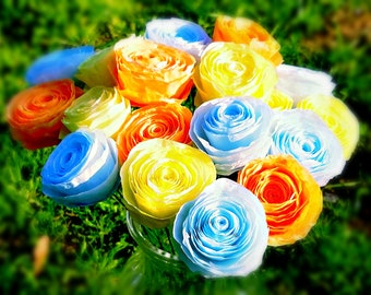Handmade Coffee Filter Flower Bouquet - 18 Hand-Dyed Yellow, Baby Blue and Orange Coffee Filter Roses - Handmade Paper Flower Bouquet