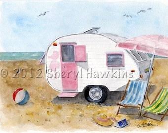 California Dreamin' Vintage Travel Trailer Watercolor, beach camping, camper, vacation